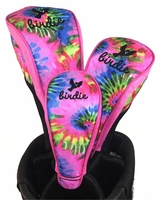 Pink Tie Dye Golf Club Head Covers Set of 3