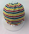 Knitted Rasta Large Peak Cap (White With Red, Green & Gold)