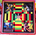 Ludo Board & Draughts Board - Black, Red, Green & Gold : Jamaican Sprinters (Custom) Large