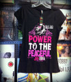 Jah Rock : Power To The Peaceful - Women T Shirt (Black)