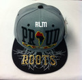 Black Pride Proud Of My Roots - Snapback : Ball Cap/Hat (Black/Grey)