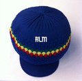 Knitted Large Peak Hat With Rasta Stripes - Royal Blue