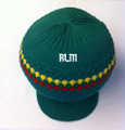 Knitted Large Peak Hat With Rasta Stripes - Kelly Green