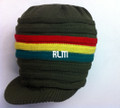 Knitted Large Peak Hat - Olive/Rasta Colors (Ribbed)