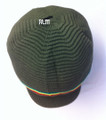 Rasta Ribbed Large Peak Hat - Army Green/Rasta Stripes