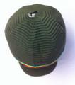 Rasta Ribbed Large Peak Hat - Army Green/Rasta Stripes