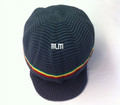 Rasta Ribbed Large Peak Hat - Grey/Rasta Stripes