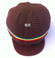 Rasta Ribbed Large Peak Hat - Dark Brown/Rasta Stripes