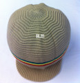 Rasta Ribbed Large Peak Hat - Khaki/Rasta Stripes