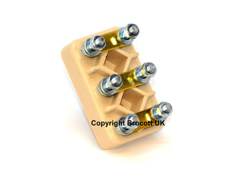 6 Pin Terminal Block, Supplied with Brass Bridge Links