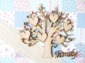 MDF Wooden Tree Shape, Tree in bud style in 4 sizes. Supplied with 10, 30mm Hearts & 'Family' Sign