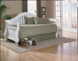 Fraser Frost Daybed Front w/ Link Spring, Front Panel & Roll Out Traditional Style with Frost Finish