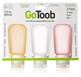 Humangear GoToob, 3-Pk, Large (3 oz), Clear/Orange/Red by LCI Brands|lci brands, humangear, gotoob, large, 3 pack