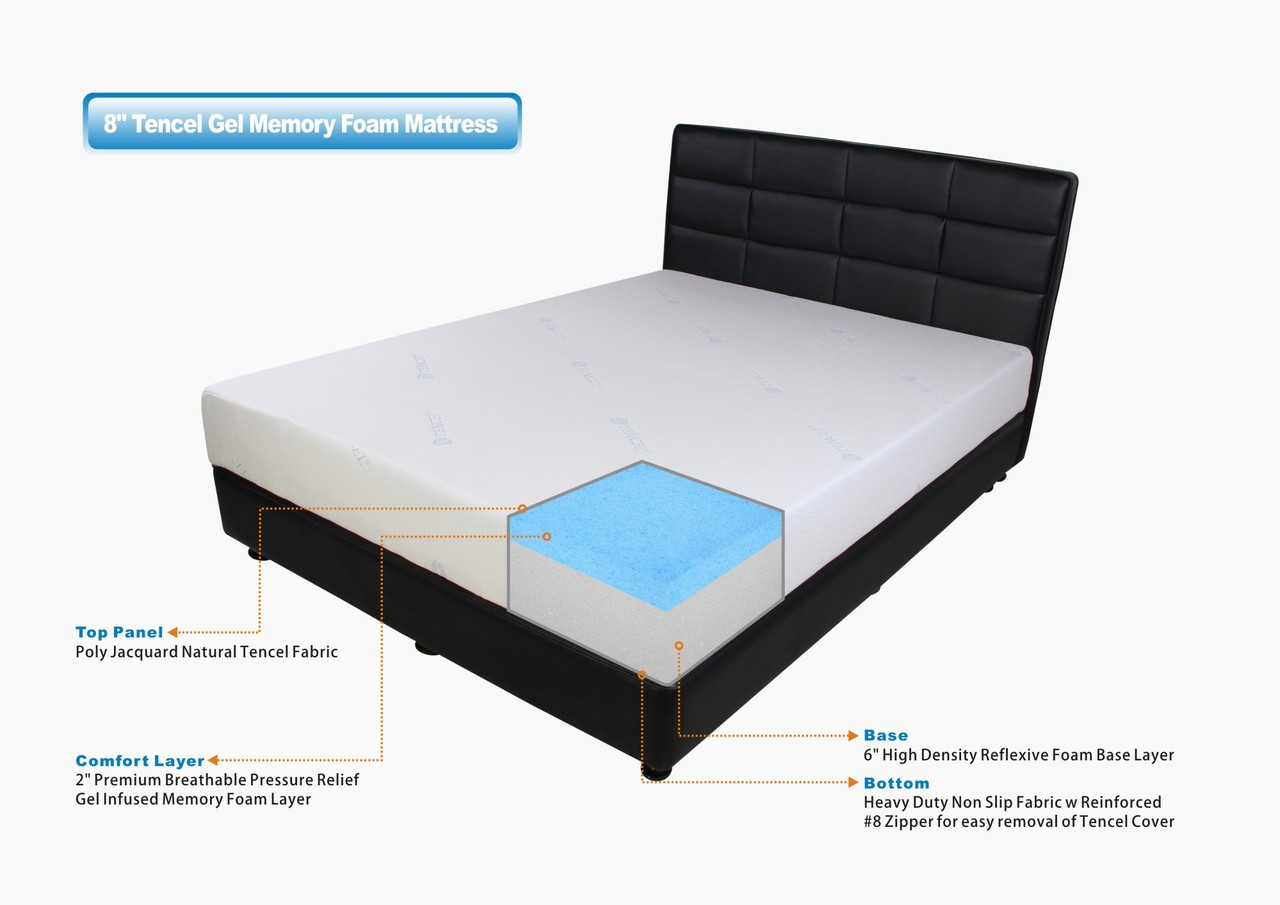 check out 40ad4 e4948 Premier Sleep 8 inch Gel Memory Foam Mattress with Tencel Cover