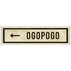 STREET SIGN WHITE - OGOPOGO - LEFT ARROW