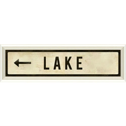 STREET SIGN WHITE - LAKE - LEFT ARROW