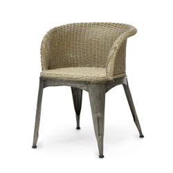 NAVY DINING ARM CHAIR - COASTAL GREY