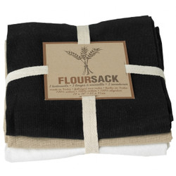 FLOURSACK DISHTOWEL SET - BLACK/OYSTER/WHITE