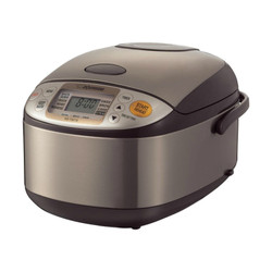 ZOJIRUSHI RICE COOKER & WARMER - 5.5 CUP - SS/BROWN