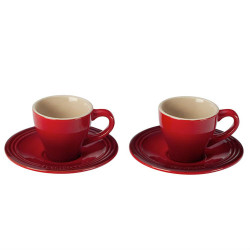 LE CREUSET ESPRESSO CUPS AND SAUCERS- SET OF 2