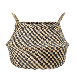 NATURAL SEAGRASS BASKET WITH HANDLES - HOUNDSTOOTH