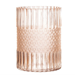 PRESSED GLASS VASE - MATTE BLUSH