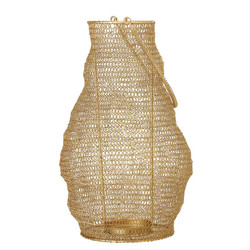WIRE MESH LANTERN WITH HANDLE - GOLD FINISH