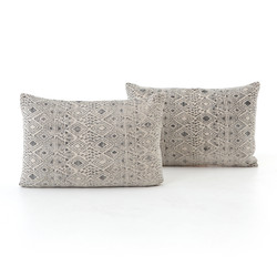 FADED GREY PRINT PILLOW - BOLSTER