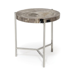 MAXWELL PETRIFIED WOOD SLICE SIDE TABLE