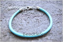 Polyester Cord Bracelet in Light Turquoise Blue