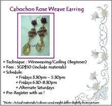 Jewelry Making: Cabochon Rose Weave Earring Workshop