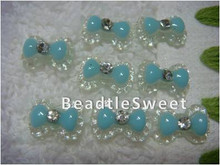 Light Blue Ribbon Nail Accessories