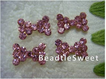 Pink Crystal Bow Nail Accessories
