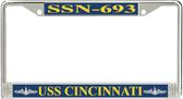 USS Cincinnati SSN-693 License Plate Frame