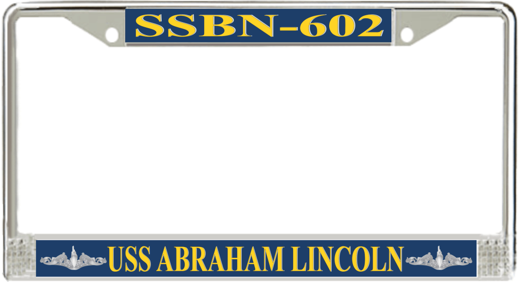 USS Abraham Lincoln SSBN-602 License Plate Frame - Submarine Ship\'s ...