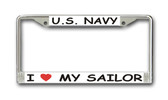 I Love My Sailor License Plate Frame
