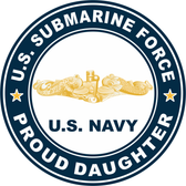 US Submarine Force Proud Daughter Gold Dolphins Decal