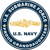 US Submarine Force Proud Granddaughter Gold Dolphins Decal