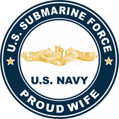 US Submarine Force Proud Wife Gold Dolphins Decal