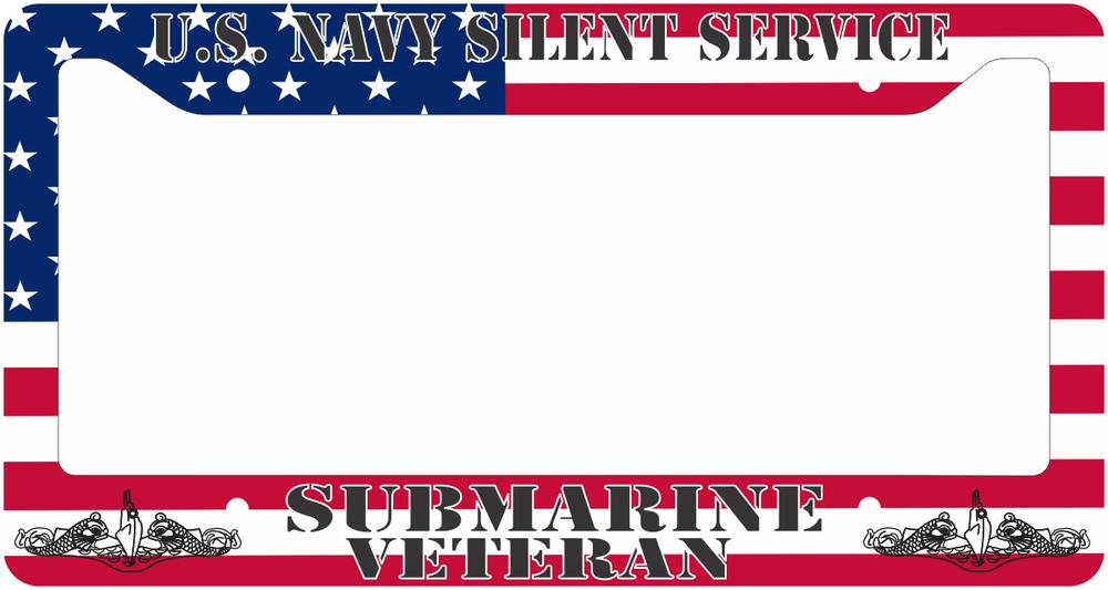 35493237987a U.S. Navy Silent Service Veteran Flag License Plate Frame ...