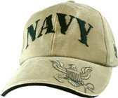 US Navy Embroidered Low Profile Khaki Ball Cap