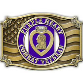 "Purple Heart Combat Veteran Belt Buckle (3-1/8"")"