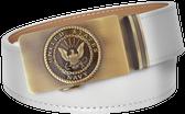 U.S. Navy White Full Grain Leather Slide Belt