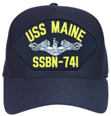 USS Maine SSBN-741 ( Silver Dolphins ) Submarine Enlisted Direct Embroidered Cap
