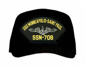 USS Minneapolis Saint - Paul SSN-708 ( Silver Dolphins ) Submarine Enlisted Custom Embroidered Cap