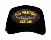 USS Memphis SSN-691 ( Silver Dolphins ) Submarine Direct Embroidered Enlisted Cap