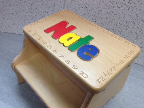 primary colors and ABC engraved Kid's Wooden Step Stool