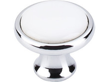 Knob - Polished Chrome and White Ceramic TKM421