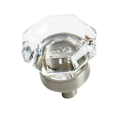 """1"""" Knob Classics (55266) (AM55266)Clear with Satin Nickel Base"""