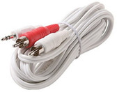 2 3.5mm Stereo Plug to 2-RCA Plug Y Audio Patch Cord, White